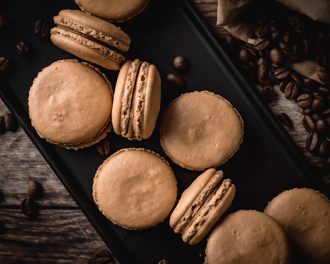Cappuccino Macarons with White Chocolate Espresso Ganache