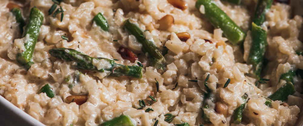 """Cauliflower """"Risotto"""" with Asparagus & Pinenuts"""
