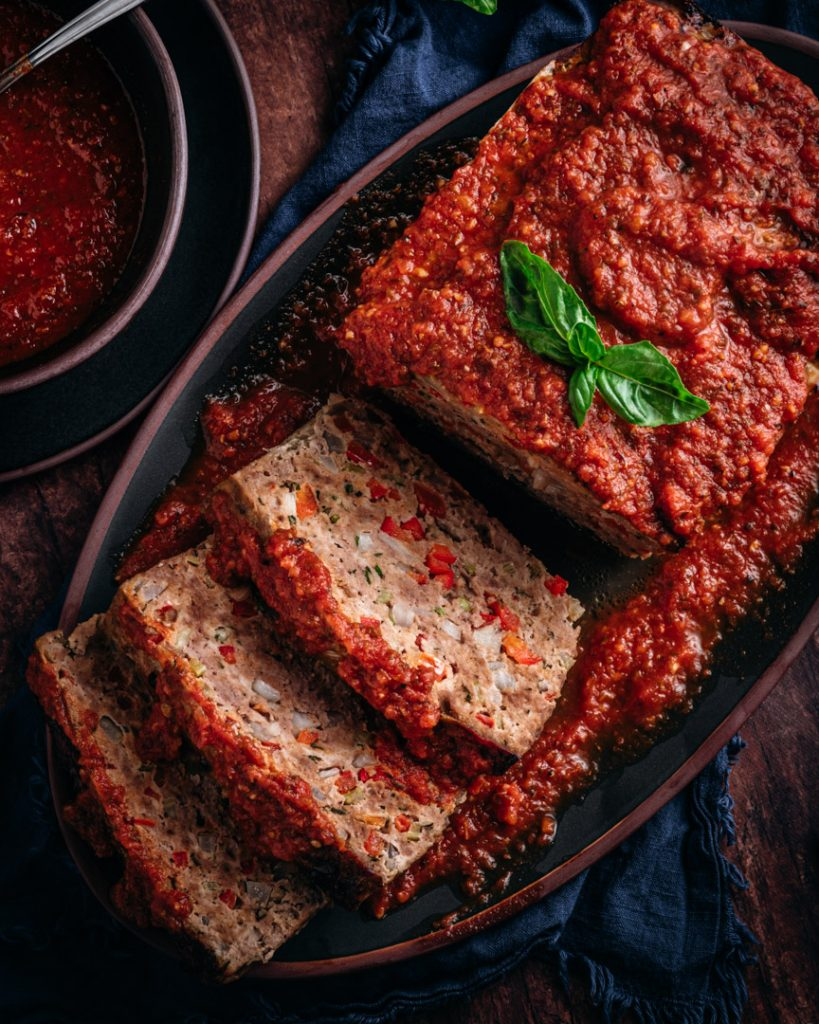 Garlic Tomato Sauce on Italian-Style Meatloaf