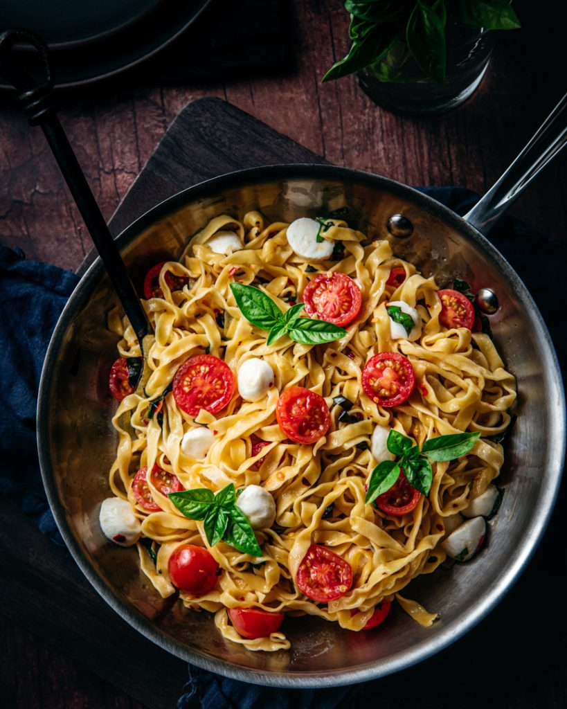 Summer Tomato Mozzarella and Basil Pasta