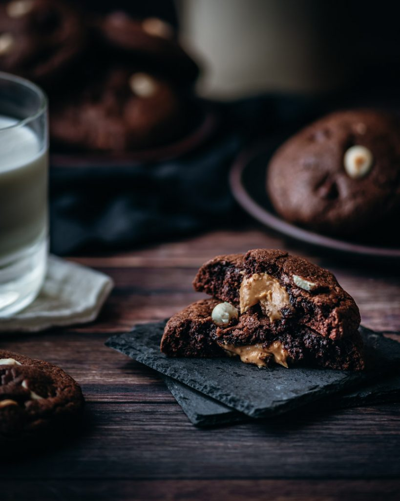 Gooey Peanut Butter Center in these Triple Chocolate Surprise Cookies