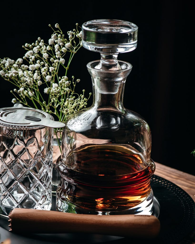 Rye Whiskey is our preference in the Blackberry Thyme Old Fashioned