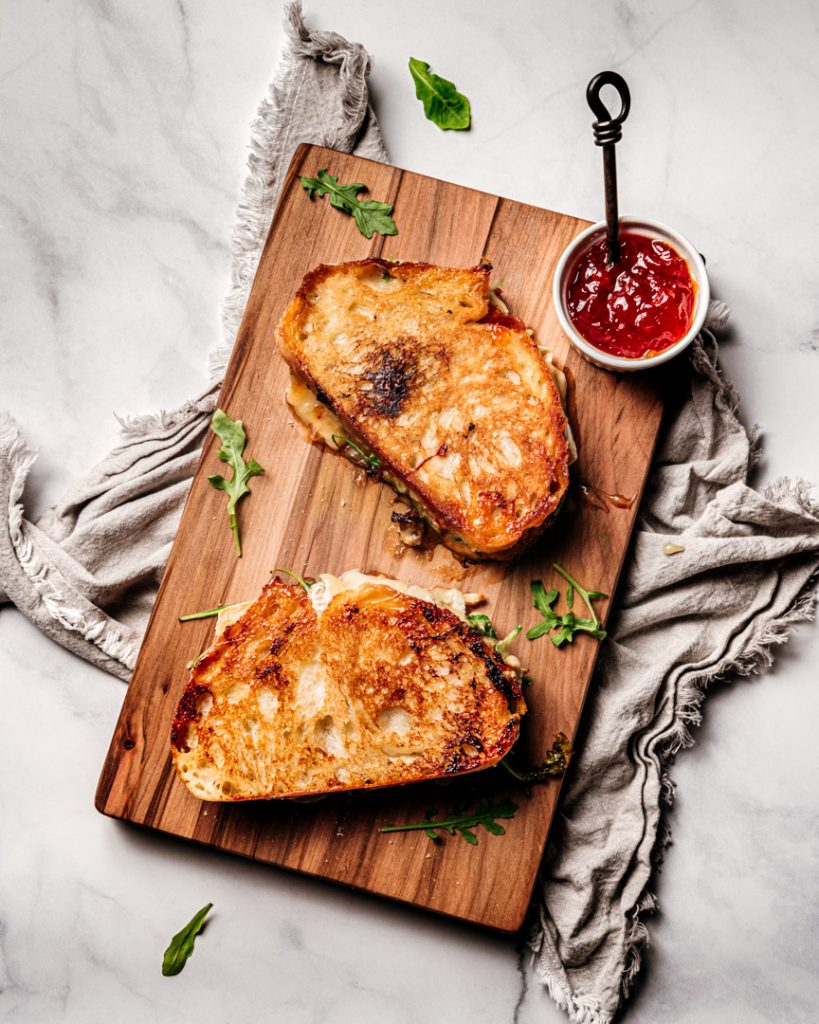 Brie and Passion Fruit Pepper Jelly Grilled Cheese