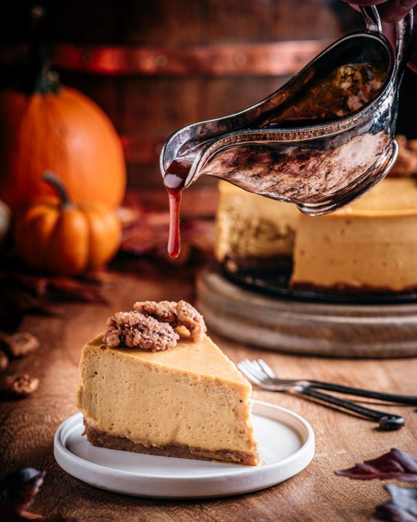 Pumpkin Cheesecake with Brown Butter Bourbon Caramel Sauce