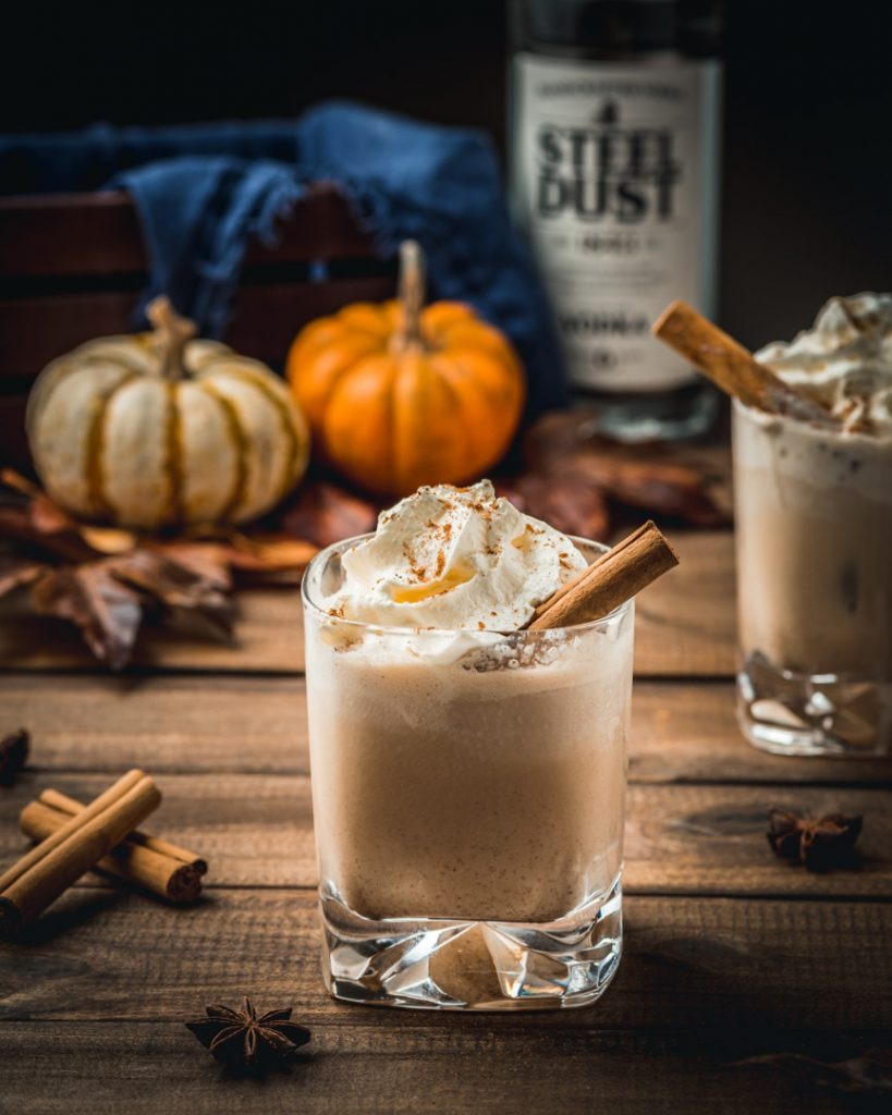 Pumpkin Spice White Russian Cocktail with Steel Dust Vodka