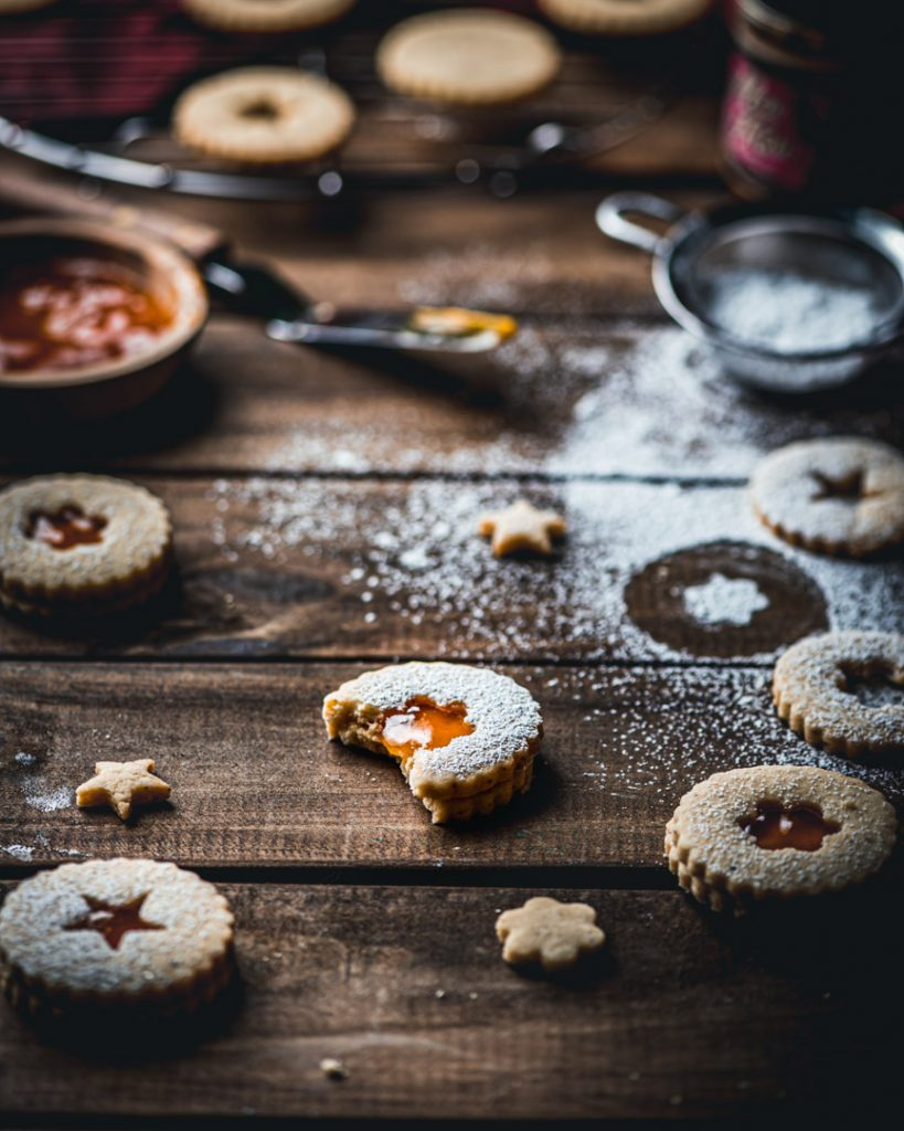 Brown Butter Cardamom Linzer Cookies with Passion Fruit Jelly