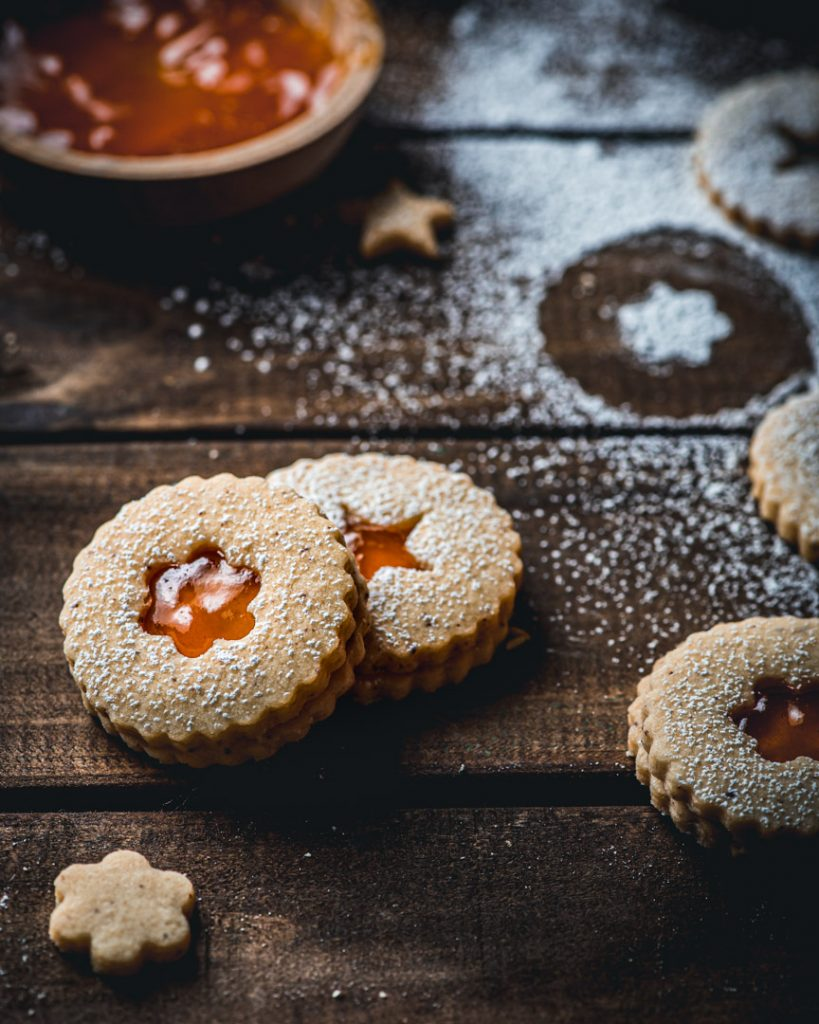 Brown Butter Cardamom Linzer Cookies with Passion Fruit Jelly Filling