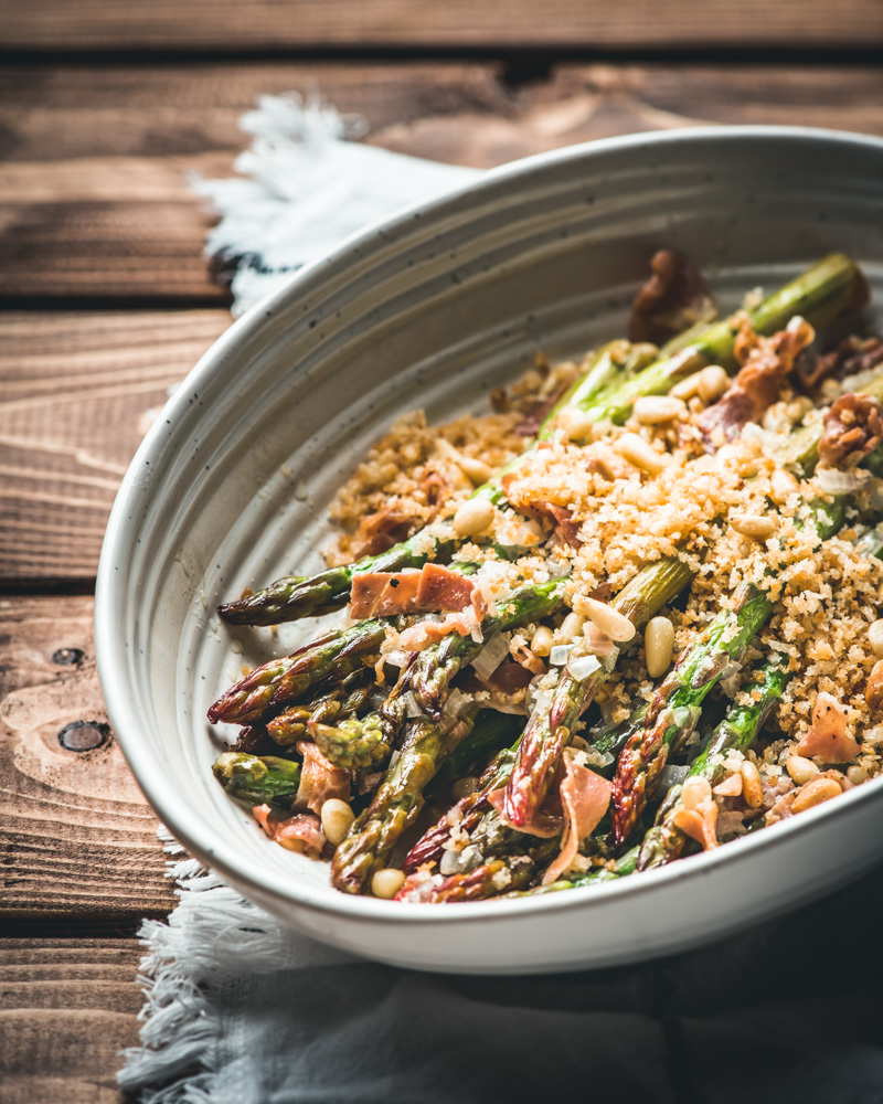 Parmesan Herb Asparagus with Prosciutto and Pine Nuts