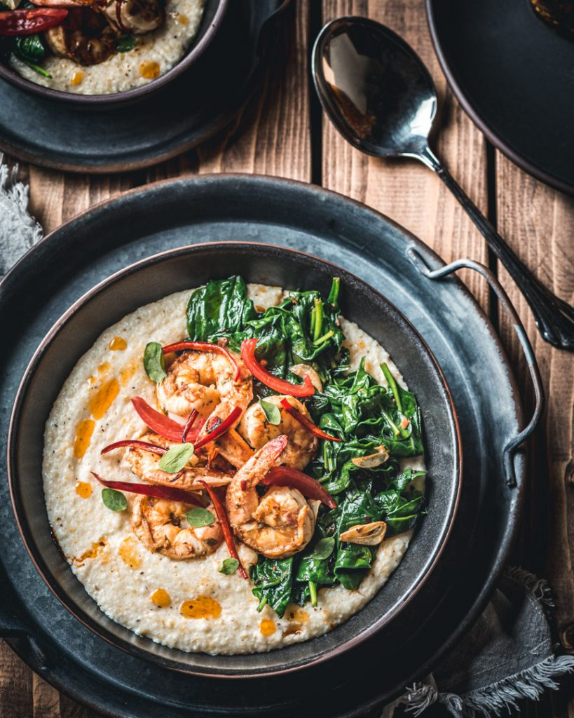 Blood Orange Shrimp and Creamy Cheese Grits