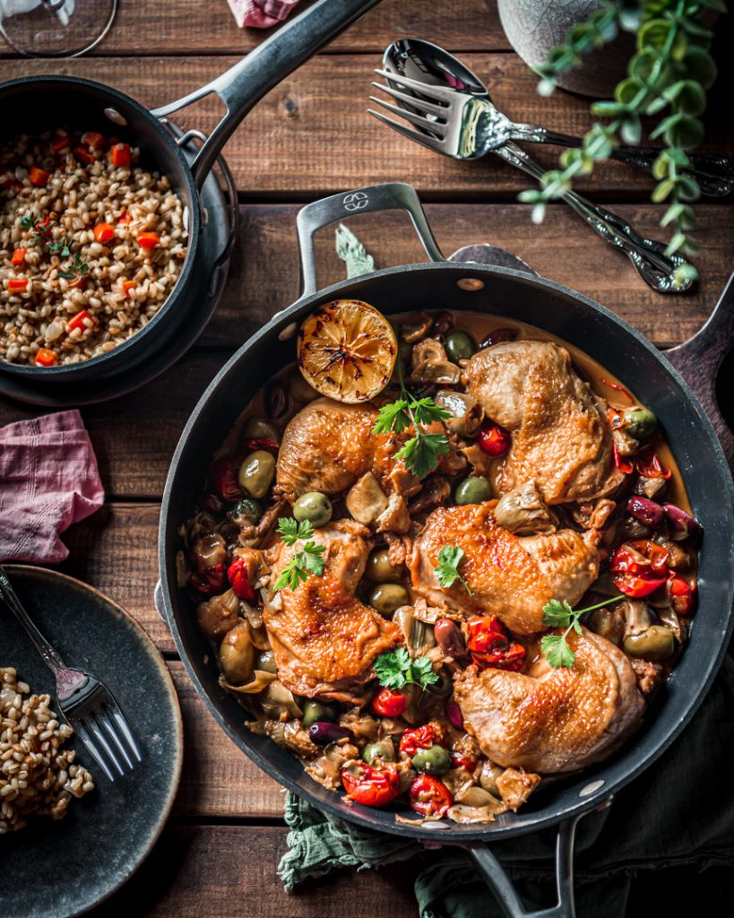 Olive and Artichoke Braised Chicken and Barely Pilaf