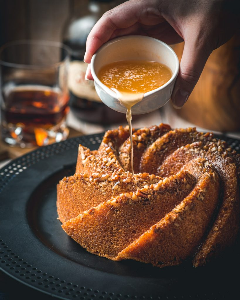 Brown Butter and Pecan Rum Cake with brown butter rum drizzle
