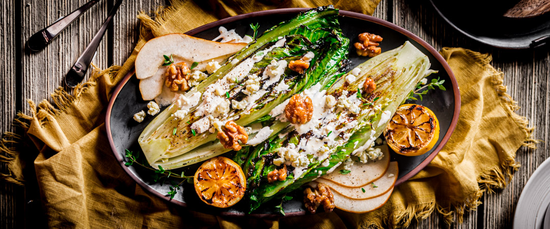 Grilled Romaine and Pear Steakhouse Salad