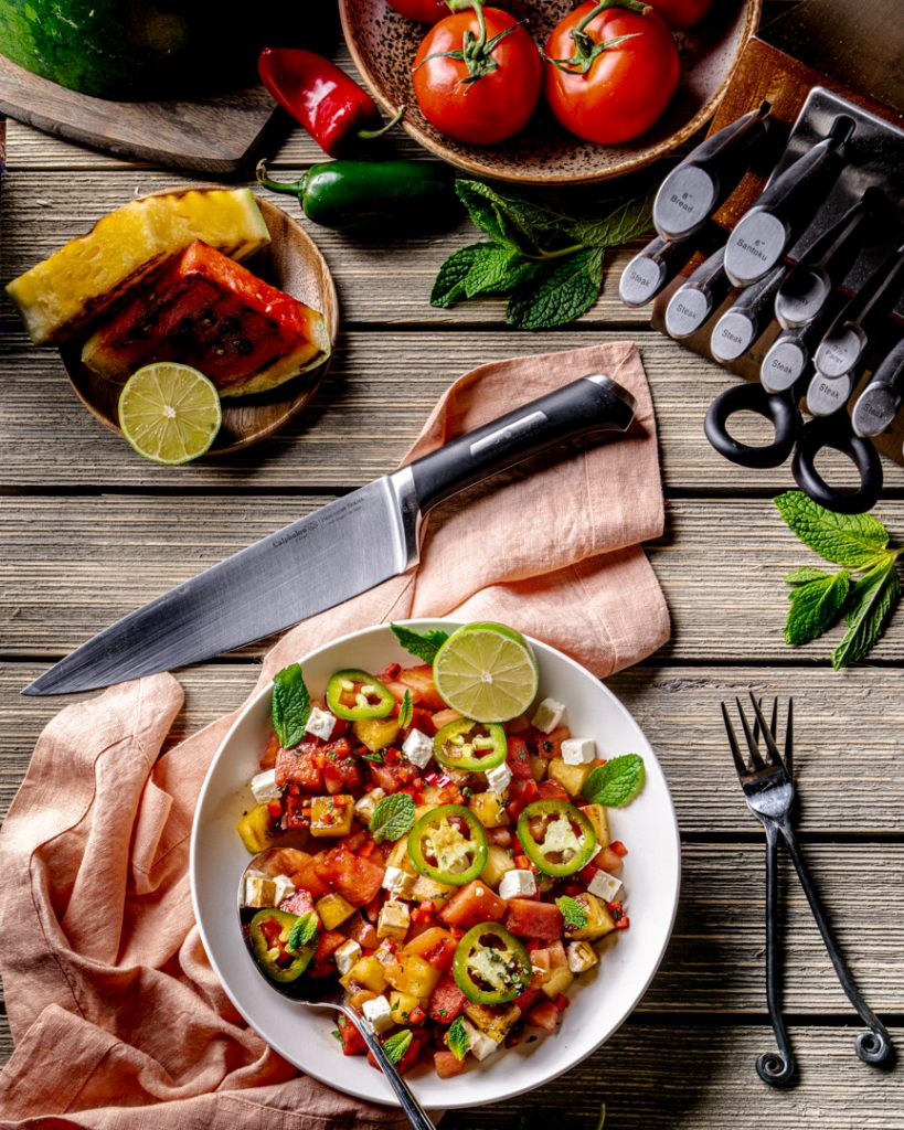 Spicy Grilled Watermelon Salad featuring Calphalon Precision Self-Sharpening knives