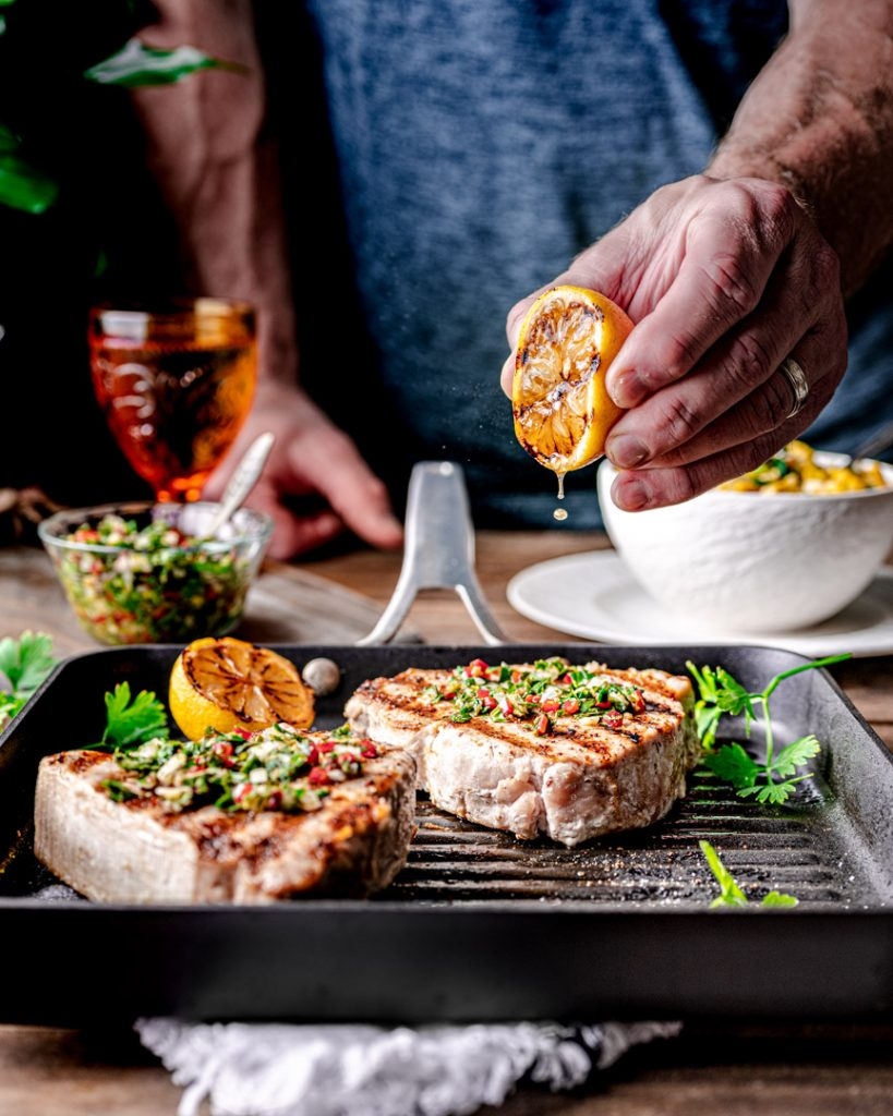 Squeeze a lemon on your Grilled Swordfish at the end