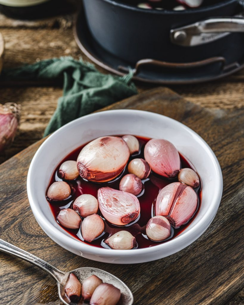 Wine Poached Shallots and Onions