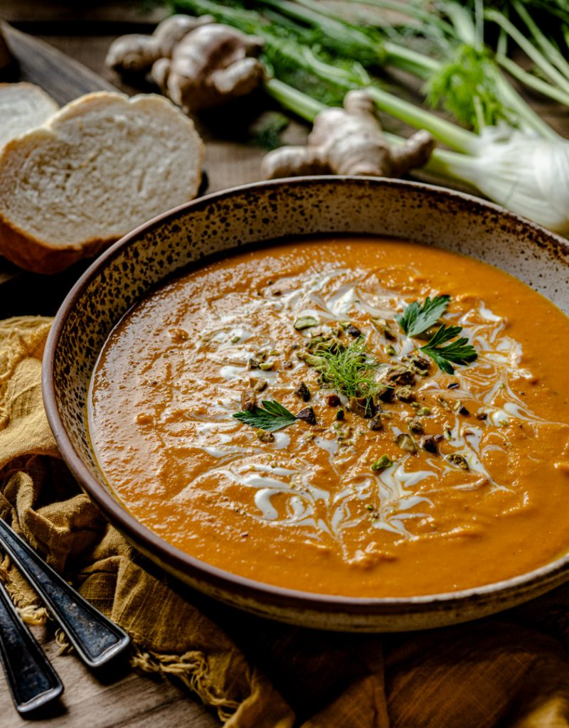 Spiced Carrot Ginger and Fennel Soup